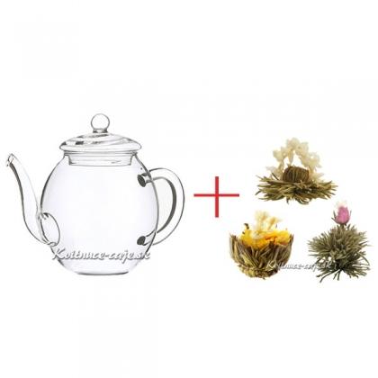 Čajová konvica + 6ks bielych + 6ks zelených kvitnúcich čajov